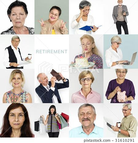 Senior Adult Enjoying Retirement Life Studio Portrait Collage 31610291