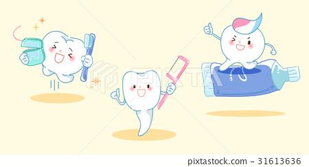 cartoon tooth play happily 31613636