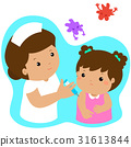 Vaccination child cartoon vector. 31613844