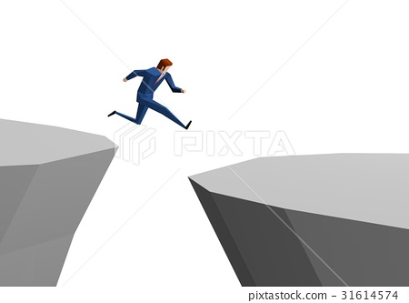 A businessman who jumps over a cliff 31614574