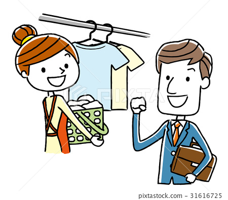 A working businessman and a woman who hangs washing 31616725