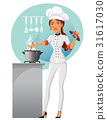 Woman chef cartoon vector isolated on white vector 31617030