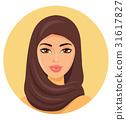 Beautiful young muslim woman in hijab vector icon 31617827