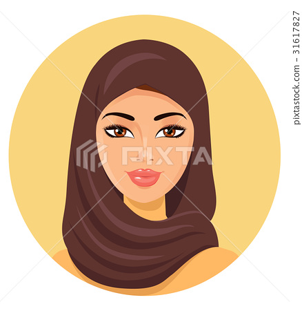 Beautiful young muslim woman in hijab vector icon 31617827
