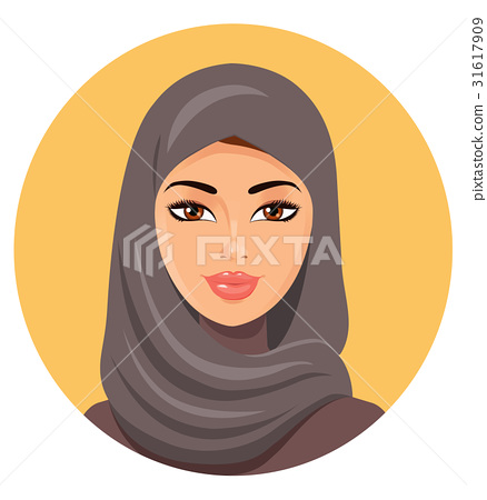 Beautiful face of arabic muslim woman in hijab  31617909