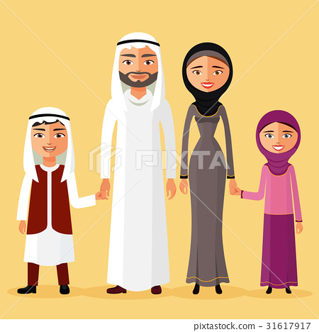 Arab family together in a beautiful dress vector 31617917