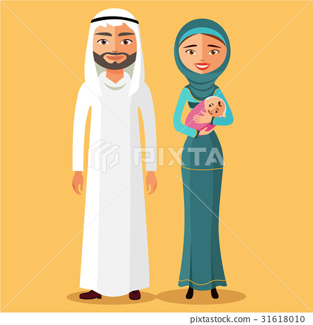 muslim parents with a newborn baby happy vector 31618010