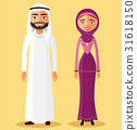 Arab muslim couple man and woman standing vector 31618150