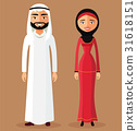 Arab muslim couple man and woman standing vector 31618151
