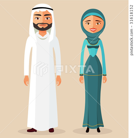 Arab people character. Traditional arab couple  31618152