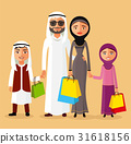 Arab couple with children shopping together vector 31618156