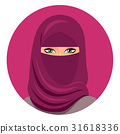 Arabic muslim woman in niqab Isolated on a white 31618336