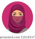 Beautiful arab woman portrait using a red veil  31618337