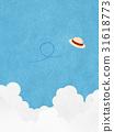 Illustration that feels texture of Japanese paper (summer sky, Izumo cloud, hat) 31618773