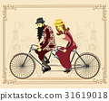 Mature man and woman riding old retro tandem bike 31619018