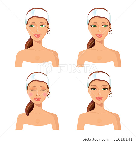 Women face spa concept set vector 31619141