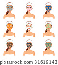 Vector illustration of different color facial mask 31619143