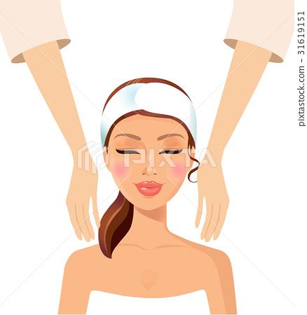 Woman massage relaxing wellness at spa salon face 31619151