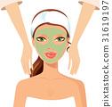Portrait of happy woman receiving face massage  31619197