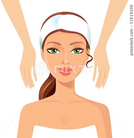 Woman relaxing wellness massage at spa salon face  31619200