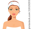 Beautiful woman perfect face with towel beauty spa 31619203