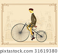 Retro gentleman with mustaches on a bicycle on old 31619380