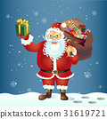 Santa Claus with a bag and gift.Vector. 31619721
