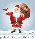 Santa Claus present something standing vector 31619722