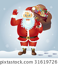 Santa Claus cartoon waving hand vector 31619726