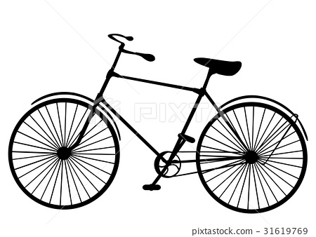 Retro old victorian bicycle silhouette isolated  31619769