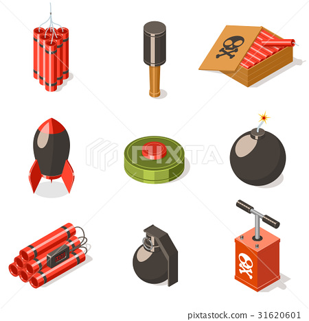 Set of explosive weapon icons. 31620601