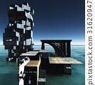 futuristic city with the modern skyscraper 3D 31620947
