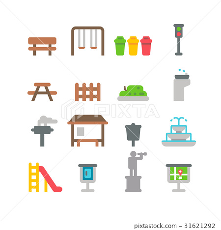 Flat design park item set 31621292