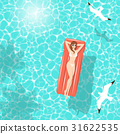 Summer woman on air mattress in the sea 31622535