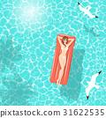 Summer woman on air mattress in the sea 31622535