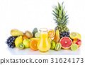 Assortment of exotic fruits and juice on white 31624173