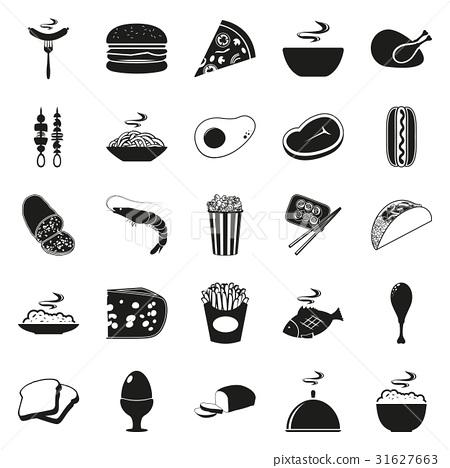 Simple black style Food Icon Set 31627663