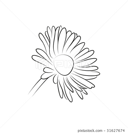Camomile Or Daisy Flower Simple Black Lined Icon Stock Illustration 31627674 Pixta