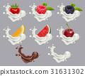 Set dessert of ripe berry fruit and cream 31631302