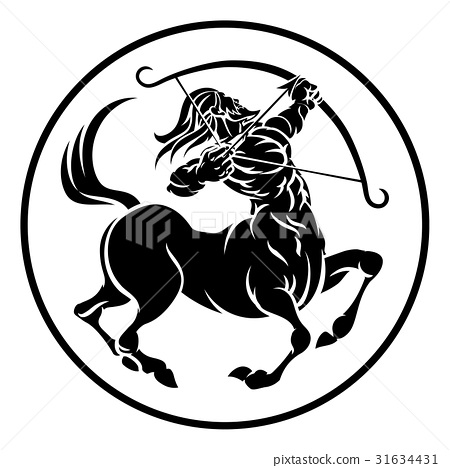Sagittarius Centaur Zodiac Horoscope Sign Stock Illustration
