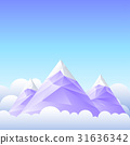 Three mountain peaks and the sky. 31636342