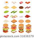 Isometric ingredients for burgers and sandwiches. 31636379