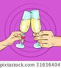 Illustration of hands with champagne 31636404