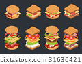Vector set of isometric burgers and sandwiches. 31636421