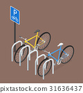 Isometric Bicycle Parking. Flat style, vector. 31636437