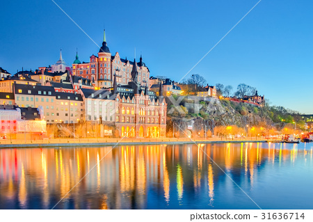 Cityscape of Stockholm city at night in Sweden 31636714