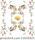 Watercolor painting of leaf and flowers pattern 31636925