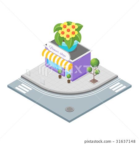 Isometric illustration of flowers shop. 31637148