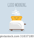 Vector illustration of toaster with happy bread.  31637180