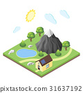 Isometric illustration of house in the mountains. 31637192